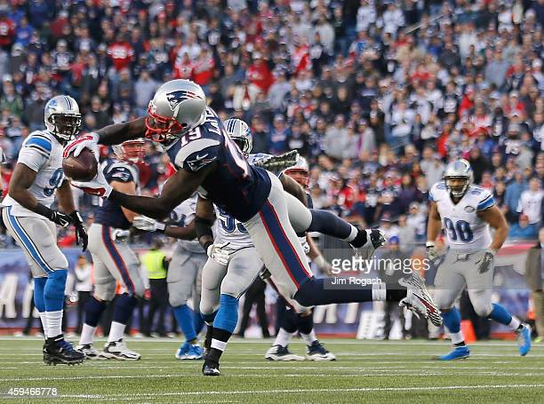 Brandon LaFell of the New England Patriots catches a pass during the fourth quarter against the Detroit Lions at Gillette Stadium on November 23 2014...