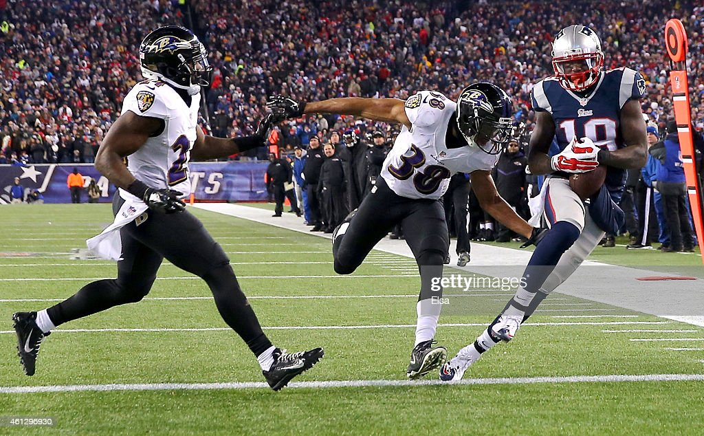 Brandon LaFell #19 of the New England Patriots catches a touchdown pass during the fourth quarter of the 2015 AFC Divisional Playoffs game against the Baltimore Ravens at Gillette Stadium on January 10, 2015 in Foxboro, Massachusetts.