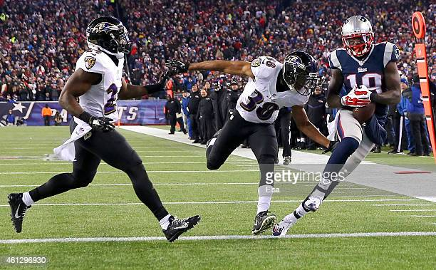 Brandon LaFell of the New England Patriots catches a touchdown pass during the fourth quarter of the 2015 AFC Divisional Playoffs game against the...