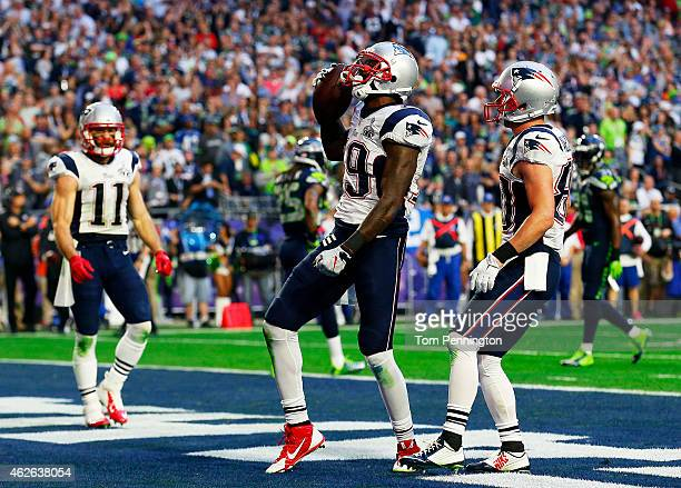 Brandon LaFell of the New England Patriots celebrates after a touchdown against the Seattle Seahawks in the second quarter during Super Bowl XLIX at...