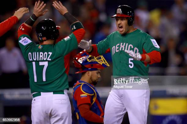 Brandon Laird of Mexico celebrates after hitting a home run in the top of the fifth inning during the World Baseball Classic Pool D Game 6 between...