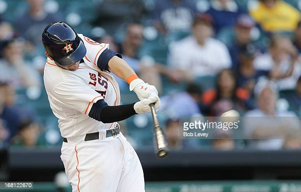 Brandon Laird of the Houston Astros drives a deep ball to center caught by Austin Jackson of the Detroit Tigers at Minute Maid Park on May 5 2013 in...