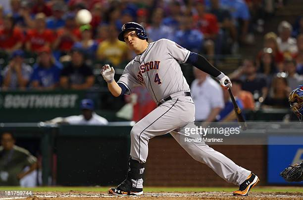 Brandon Laird of the Houston Astros hits a foul against the Texas Rangers in the 6th inning at Rangers Ballpark in Arlington on September 24 2013 in...