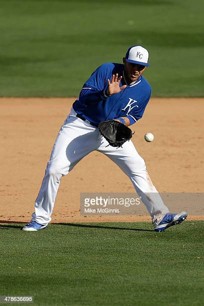 Brandon Laird of the Kansas City Royals fields the ground ball and makes the throw to first base for an out during the spring training game against...