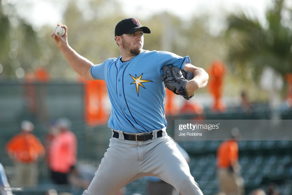 Brandon Lawson #93 of the Tampa Bay Rays pitches in the ninth inning against the Baltimore Orioles during a Grapefruit League spring training game at Ed Smith Stadium on February 23, 2018 in Sarasota, Florida. The Rays won 6-3.