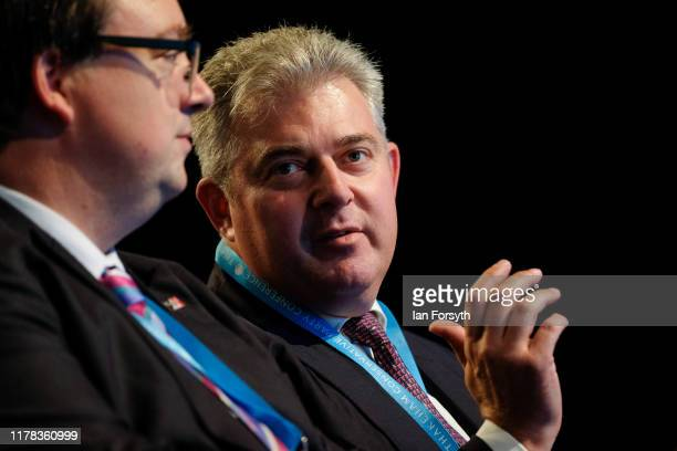 Brandon Lewis Minister of State for Security and Deputy for EU Exit and No Deal Preparation attends the speech of Priti Patel the Secretary of State...