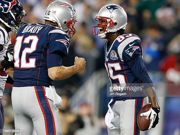 Brandon Lloyd of the New England Patriots celebrates his touchdown with Tom Brady against the Houston Texans at Gillette Stadium on December 10 2012...
