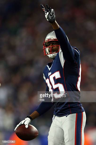 Brandon Lloyd of the New England Patriots celerbates after scoring a touchdown against the Houston Texans during the 2013 AFC Divisional Playoffs...