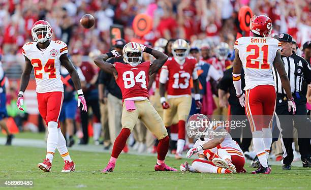 Brandon Lloyd of the San Francisco 49ers celebrate after making a reception during the game against the Kansas City Chiefs at Levi Stadium on October...