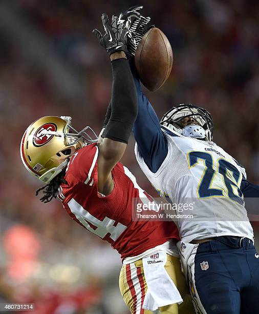 Brandon Lloyd of the San Francisco 49ers has a pass broken up by Brandon Flowers of the San Diego Chargersin the first quarter at Levi's Stadium on...