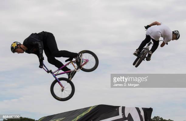 Brandon Loupos and Danny Campbell BMX bicycle freestyle athletes perform on October 7 2017 in Sydney Australia The Big Adventure at Sydney Park is...