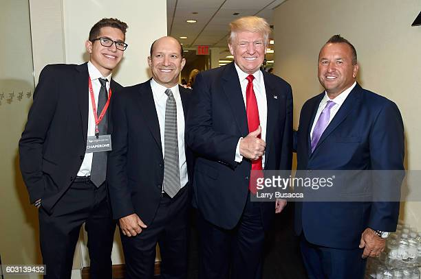 Brandon Lutnick Chairman and CEO of Cantor Fitzgerald Howard Lutnick US Republican presidential nominee Donald Trump and Daniel LaVecchia attend...