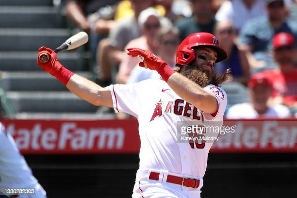 Brandon Marsh of the Los Angeles Angels at bat during the fourth inning against the Seattle Mariners at Angel Stadium of Anaheim on July 18, 2021 in...