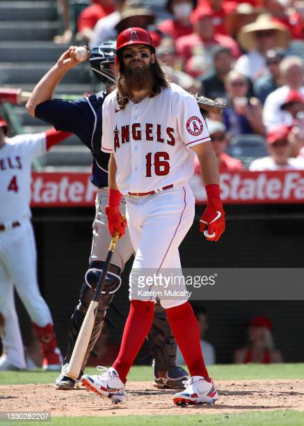 Brandon Marsh of the Los Angeles Angels at bat during the sixth inning against the Seattle Mariners at Angel Stadium of Anaheim on July 18, 2021 in...