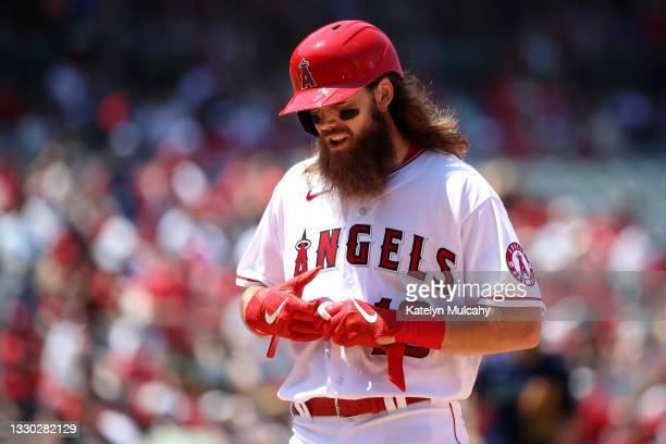Brandon Marsh of the Los Angeles Angels looks on after hitting a fly ball during the fourth inning against the Seattle Mariners at Angel Stadium of...