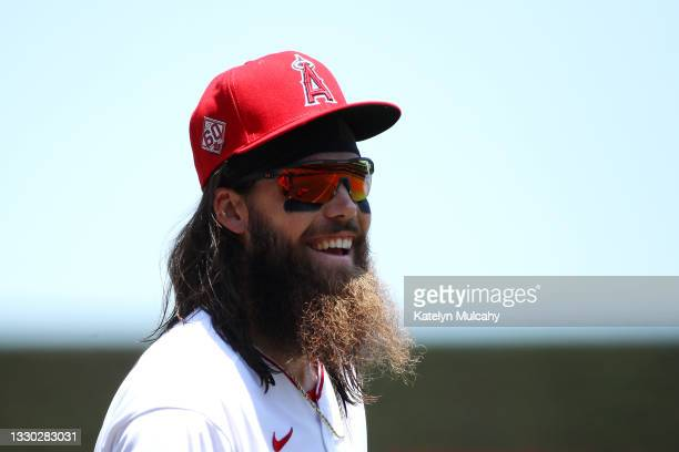Brandon Marsh of the Los Angeles Angels looks on before the game against the Seattle Mariners at Angel Stadium of Anaheim on July 18, 2021 in...
