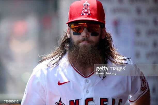 Brandon Marsh of the Los Angeles Angels looks on from the dugout before the game against the Seattle Mariners at Angel Stadium of Anaheim on July 18,...