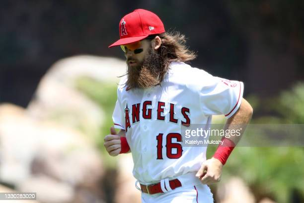 Brandon Marsh of the Los Angeles Angels warms up before the game against the Seattle Mariners at Angel Stadium of Anaheim on July 18, 2021 in...
