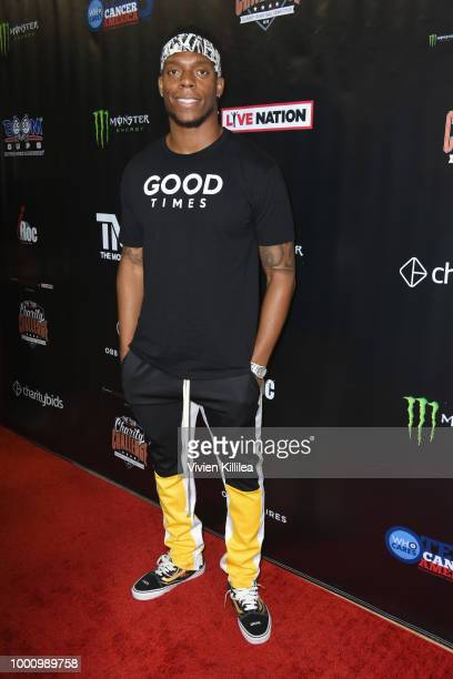 Brandon Marshall attends 50K Charity Challenge Celebrity Basketball Game at UCLA's Pauley Pavilion on July 17 2018 in Westwood California