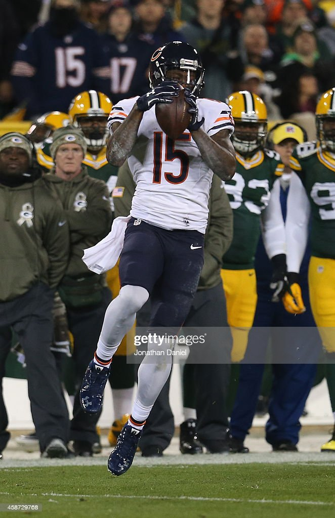 Brandon Marshall #15 of the Chicago Bears catches a pass in the first half against the Green Bay Packers at Lambeau Field on November 9, 2014 in Green Bay, Wisconsin. Green Bay Packers defeat the Chicago Bears 55 to 14.