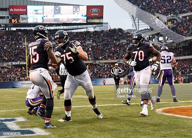 Brandon Marshall of the Chicago Bears celebrates his touchdown with Kyle Long during the fourth quarter of a game against the Minnesota Vikings at...