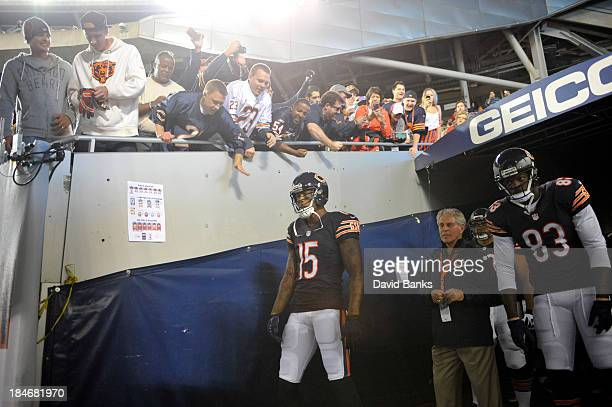 Brandon Marshall of the Chicago Bears waits to enter the field in a game against the New York Giants on October 10 2013 at Soldier Field in Chicago...