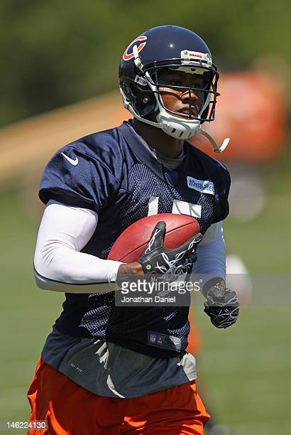 Brandon Marshall of the Chicago Bears works out during a minicamp practice at Halas Hall on June 12, 2012 in Lake Forest, Illinois.