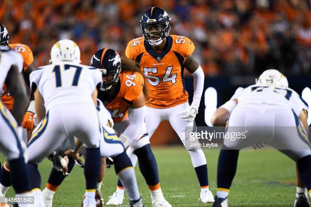Brandon Marshall of the Denver Broncos lines up Philip Rivers of the Los Angeles Chargers during the first quarter on Monday September 11 2017 The...