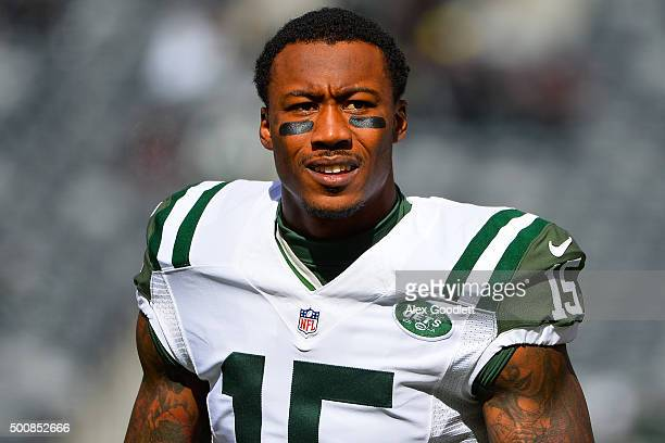 Brandon Marshall of the New York Jets looks on before a game against the Washington Redskins at MetLife Stadium on October 18, 2015 in East...