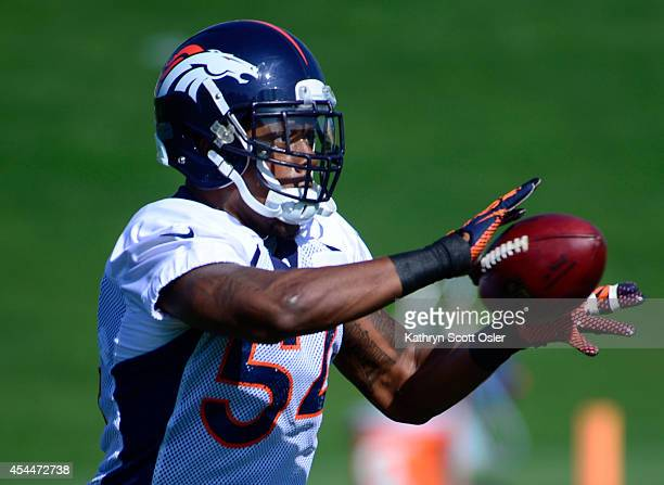 Brandon Marshall runs through drills with the rest of the linebackers The Denver Broncos practice at Dove Valley on Monday Sept 1 2014 in preparation...