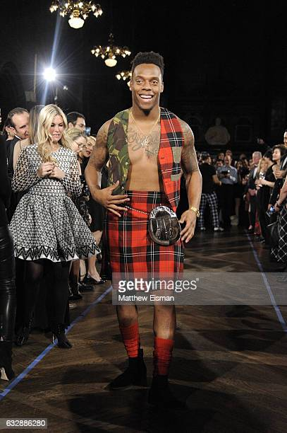 Brandon Marshall walks the runway during Dressed To Kilt Ball Fashion Show presented by Usquaebach Scotch Whisky The High Line Hotel SugarBearHair at...