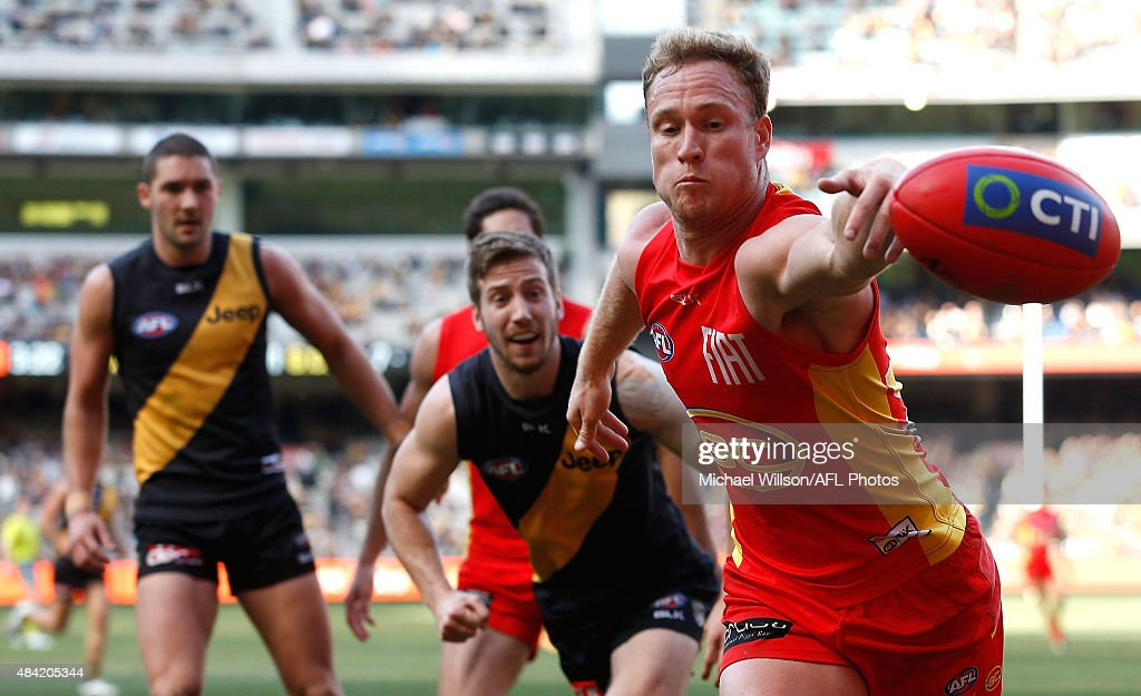 Brandon Matera of the Suns in action during the 2015 AFL round 20 match between the Richmond Tigers and the Gold Coast Suns at the Melbourne Cricket Ground, Melbourne, Australia on August 16, 2015.