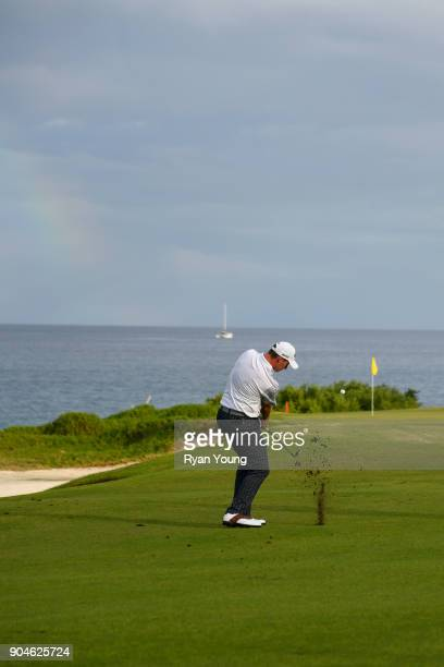 Brandon Matthews plays a shot on the 14th hole during the first round of the Webcom Tour's The Bahamas Great Exuma Classic at Sandals Emerald Bay...