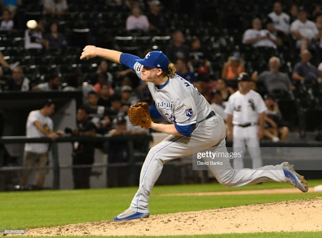 Brandon Maurer #32 of the Kansas City Royals pitches against the Chicago White Sox during the ninth inning on September 23, 2017 at Guaranteed Rate Field in Chicago, Illinois. The Royals defeated the White Sox 8-2.