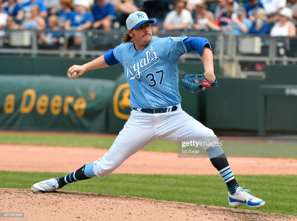 Brandon Maurer #37 of the Kansas City Royals pitches in the eighth inning against the Houston Astros at Kauffman Stadium on June 17, 2018 in Kansas City, Missouri.