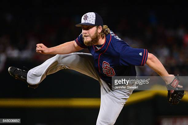 Brandon Maurer of the San Diego Padres delivers a pitch in the ninth inning against the Arizona Diamondbacks at Chase Field on July 4 2016 in Phoenix...