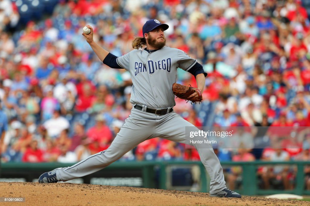 Brandon Maurer #37 of the San Diego Padres throws a pitch in the ninth inning during a game against the Philadelphia Phillies at Citizens Bank Park on July 8, 2017 in Philadelphia, Pennsylvania. The Padres won 2-1.