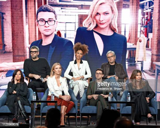 Brandon Maxwell Elaine Welteroth Dan Cutforth Jane Lipsitz Karlie Kloss Christian Siriano and Nina Garcia speak on the Project Runway panel during...