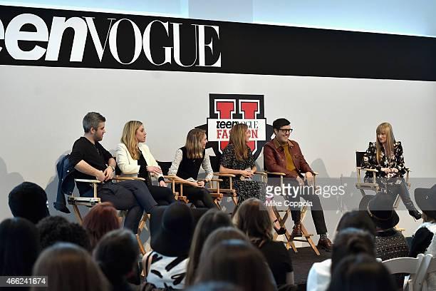 Brandon Maxwell Erin Hoover Jessica Minkoff Marina Larroude Andrew Bevan and Teen Vogue Editor in Chief Amy Astley speak during Teen Vogue's 10th...