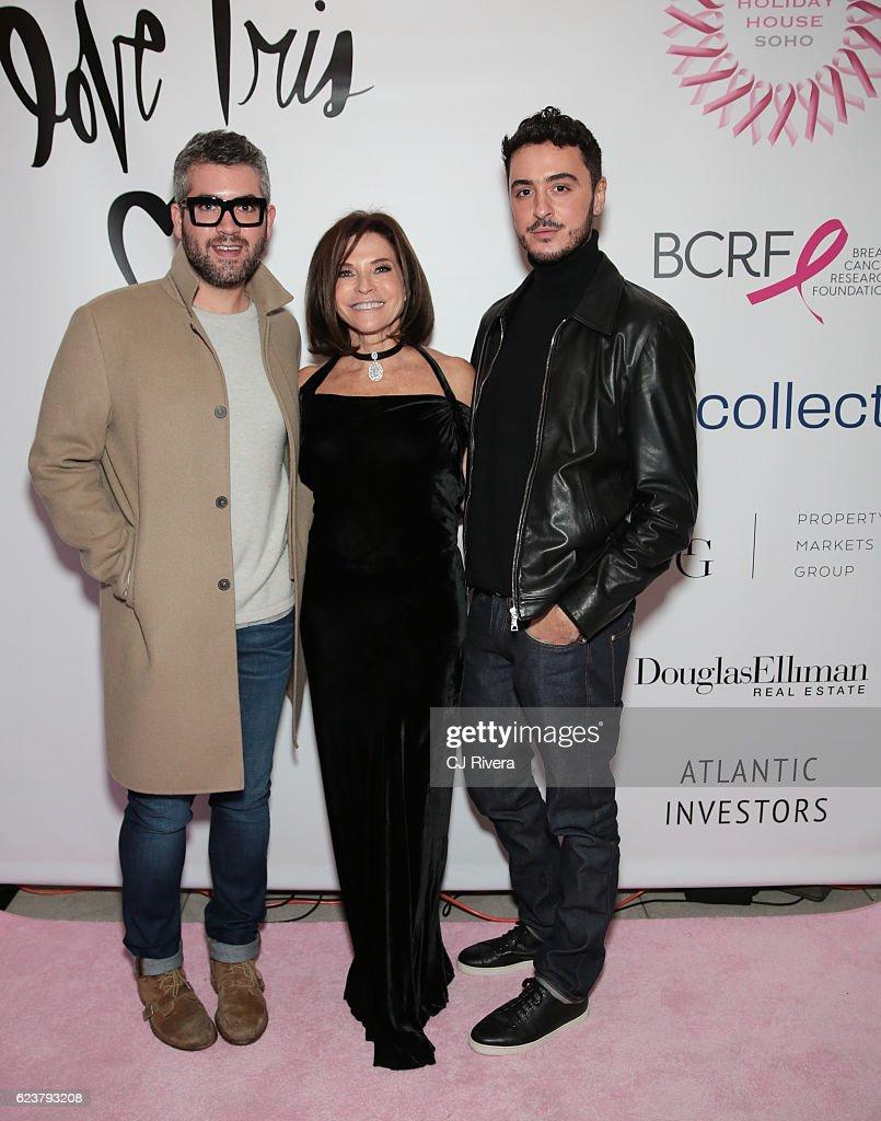 Brandon Maxwell (L) Iris Dankner, and Ryan Korban attend the Holiday House Opening Night Benefit Honoring Iris Apfel at The Sullivan Mansions on November 16, 2016 in New York City.