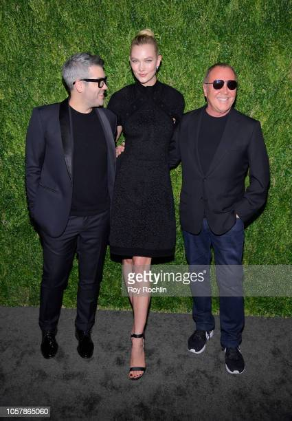 Brandon Maxwell Karlie Kloss and Michael Kors attend the CFDA / Vogue Fashion Fund 15th Anniversary Event at Brooklyn Navy Yard on November 5 2018 in...
