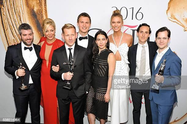 Brandon Maxwell Nadja Swarovski Paul Andrew Ansel Elgort Samantha Orley Karlie Kloss Alex Orley and Matthew Orley attend the 2016 CFDA Fashion Awards...