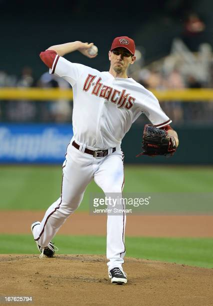Brandon McCarthy of the Arizona Diamondbacks pitches against the Colorado Rockies in the first inning at Chase Field on April 26 2013 in Phoenix...