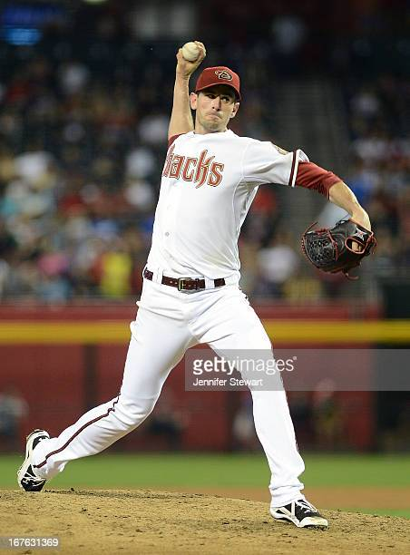 Brandon McCarthy of the Arizona Diamondbacks pitches against the Colorado Rockies in the sixth inning at Chase Field on April 26 2013 in Phoenix...