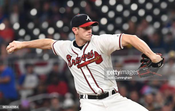 Brandon McCarthy of the Atlanta Braves pitches in the first inning against the New York Mets at SunTrust Field on May 28 2018 in Atlanta Georgia