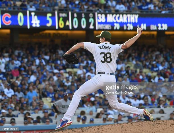 Brandon McCarthy of the Los Angeles Dodgers in the sixth inning against the Chicago Cubs at Dodger Stadium on May 27 2017 in Los Angeles California