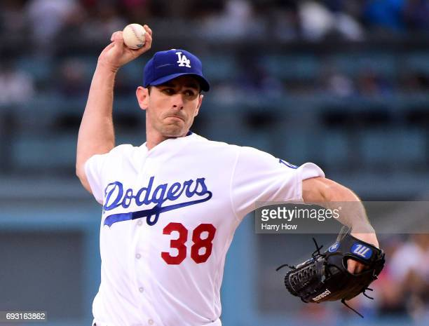 Brandon McCarthy of the Los Angeles Dodgers pitches against the Washington Nationals during the first inning at Dodger Stadium on June 6 2017 in Los...