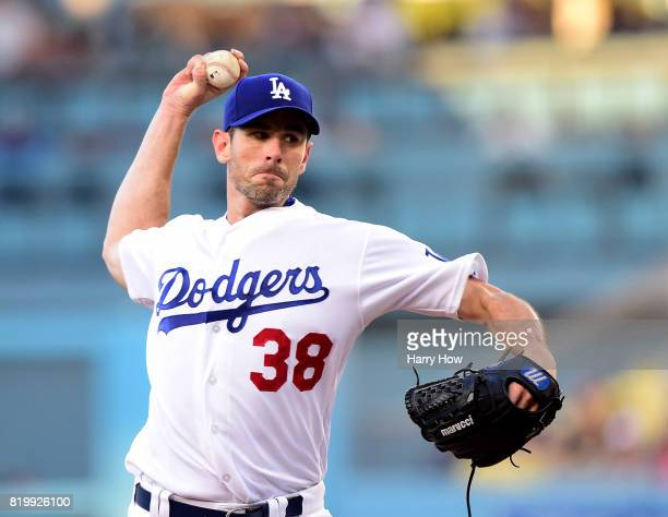 Brandon McCarthy of the Los Angeles Dodgers pitches against the Atlanta Braves during the first inning at Dodger Stadium on July 20 2017 in Los...