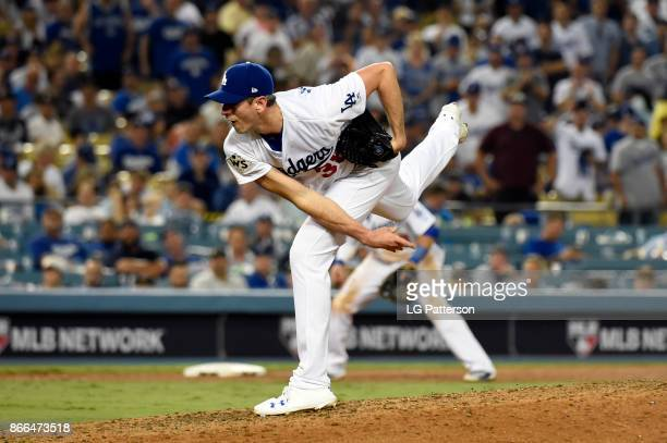 Brandon McCarthy of the Los Angeles Dodgers pitches during Game 2 of the 2017 World Series against the Houston Astros at Dodger Stadium on Wednesday...