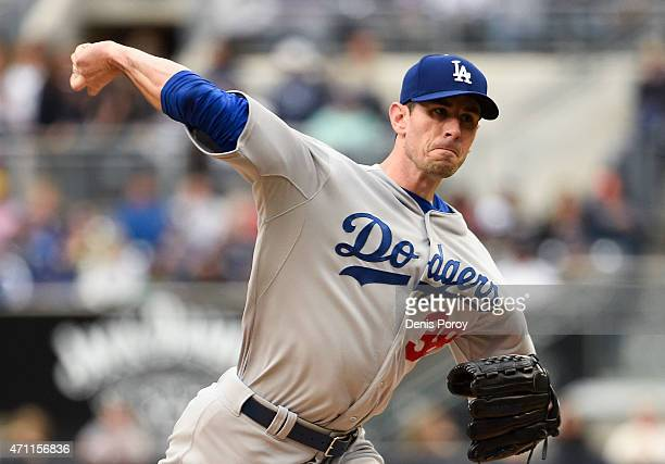 Brandon McCarthy of the Los Angeles Dodgers pitches during the first inning of a baseball game at Petco Park April 25 2015 in San Diego California